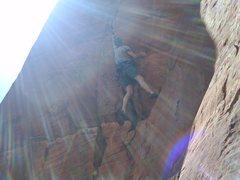 Rock Climbing Photo: Matt going after Red Planet (5.13b), beautiful rin...