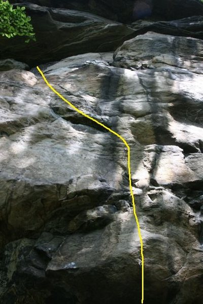 Rock Climbing Photo: Approximate route. Follows bolt line