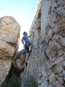 Rock Climbing Photo: Begin up the creamy panel.