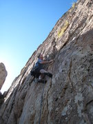 Rock Climbing Photo: Crux #1: reaching the ledge without getting poked.