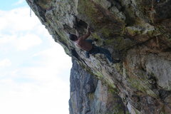 Rock Climbing Photo: reaching to the flake