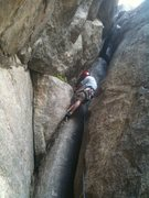 Rock Climbing Photo: Working up the chimney that begins P1.