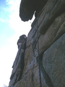Rock Climbing Photo: The crux is located directly above the bolted bela...