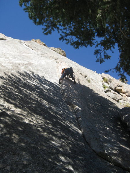 Rock Climbing Photo: Pete just after the crux (IMHO), 1st pitch of Loos...