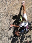 Rock Climbing Photo: Chris Magness at the first pitch crux of I'm Still...