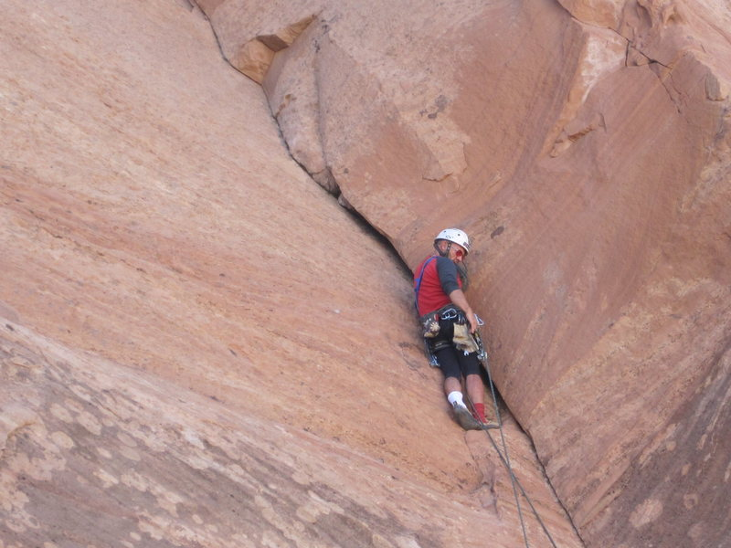 Rock Climbing Photo: Ross just below the 5.11 section . The chock stone...