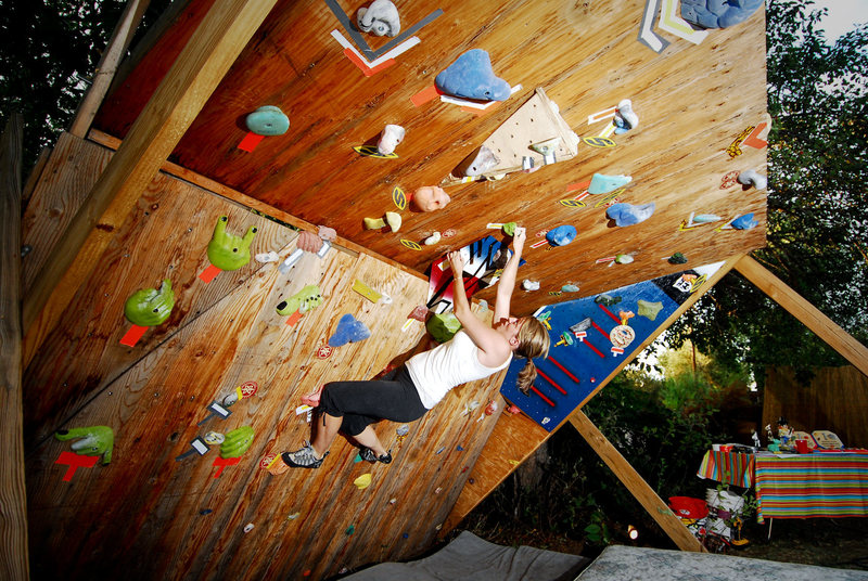 Rock Climbing Photo: Whitney climbing on the wall during a recent frien...