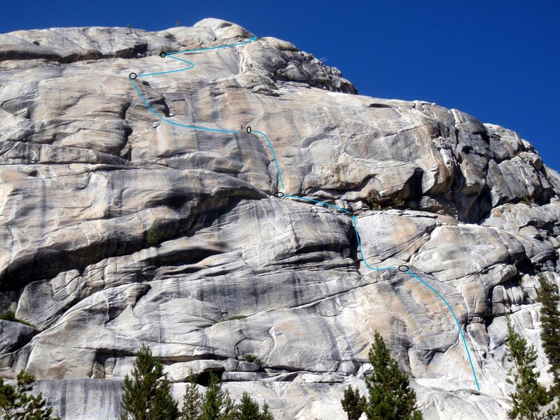 Rock Climbing Photo: View of the route from the base out by the road.  ...