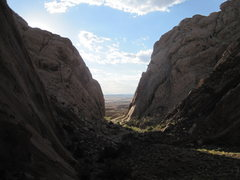 Rock Climbing Photo: Early morning looking back at the entrance to Thre...