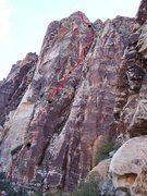 Rock Climbing Photo: The broken red line is the first 2 pitches of Bour...