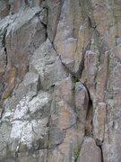 Rock Climbing Photo: Follow the white splotched rock triangle straight ...