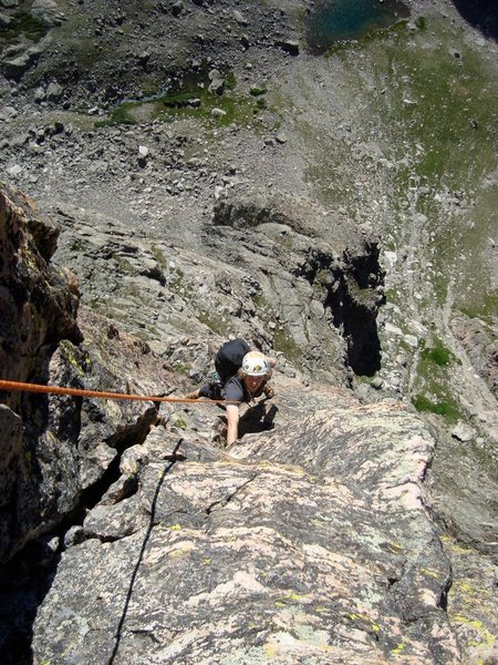 Myself following.  Pitch 4 perhaps.  Photo by A. Badeau.