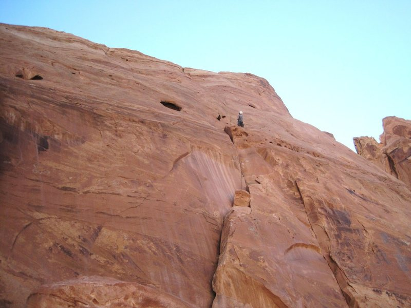 Lance at the belay of the first pitch