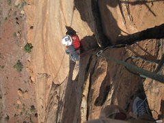 Rock Climbing Photo: Paul near the top of the groove on the second pitc...