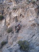 Rock Climbing Photo: Tristan after the leap of faith headed up pitch 2....