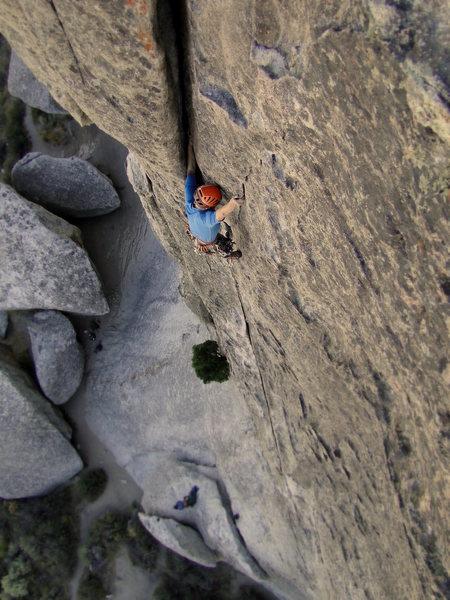 Rock Climbing Photo: Eric living large on Wheat thin.