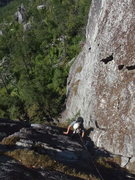 Rock Climbing Photo: Mike Reardon following the first pitch of Good Hea...
