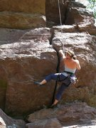 Rock Climbing Photo: The beginning of the 2-3 crux moves, tape for fist...