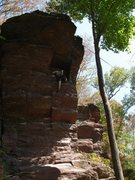 Rock Climbing Photo: In the Phone Booth.  Going up the right arete is c...