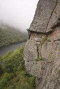Rock Climbing Photo: Sara Reeder rounding the corner on the second pitc...