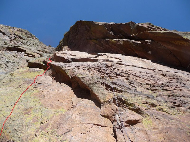 King Cobra in Red. Climber is leading Rise Above, which starts with the first ~50' of The Serpent.