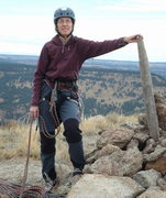 Rock Climbing Photo: Me at the top of Devil's Tower.