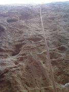 Rock Climbing Photo: Looking up to the second pin.  The first pin is ju...