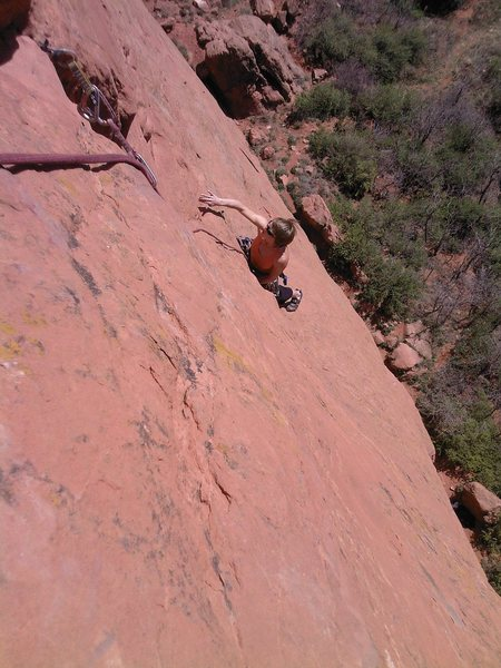 Jes Meiris, just above the crux on the first pitch.