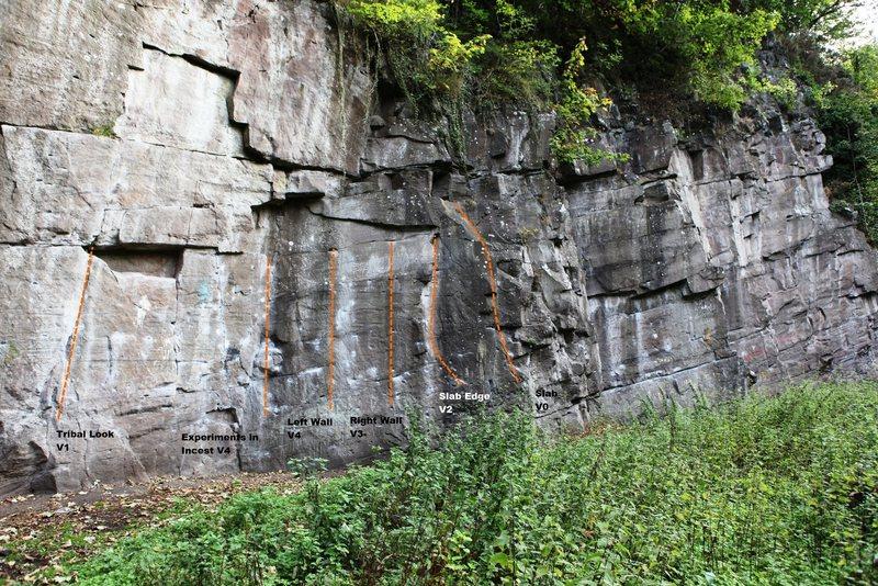 Rock Climbing Photo: Main Face Rightside Topo