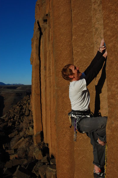 Rock Climbing Photo: Cody on the first ascent!