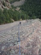 Rock Climbing Photo: Looking down the crux.  The best holds are right o...