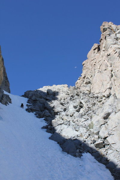Rock Climbing Photo: U Notch Couloir. North Palisade.  July 4 2010