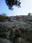 """Rock Climbing Photo: About to make the """"technical crux"""" move ..."""