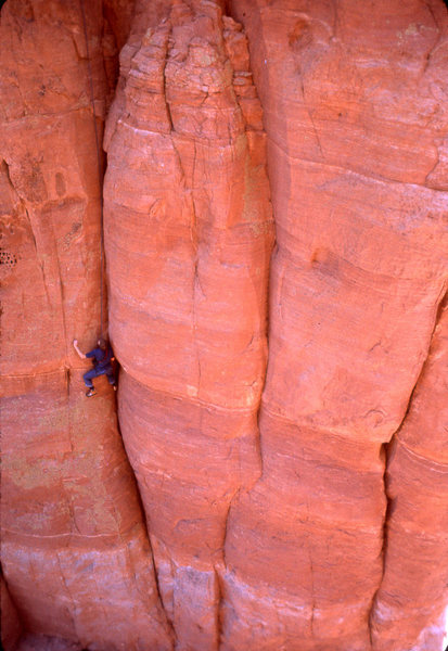Ross Hardwick follows the first pitch of the Rappel Route on the second ascent.