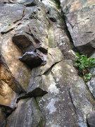 Rock Climbing Photo: Base of Dirty Corner follow crud where vegetation ...