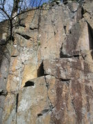 Rock Climbing Photo: Follow bolts starting on left brown streak near mi...