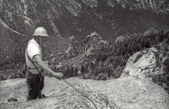 Rock Climbing Photo: Paul Anderson on the summit of the Pawn in 1965 Ph...