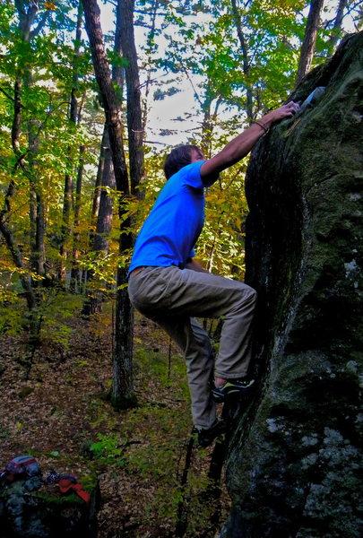 Rock Climbing Photo: Jak snags the jug at the top!