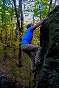 Rock Climbing Photo: Jak snags the jug at the top!