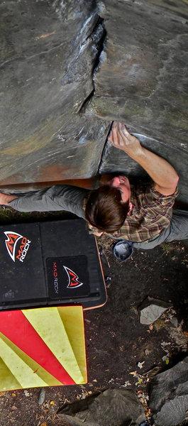 Rock Climbing Photo: Nate Glocke advances with determination.
