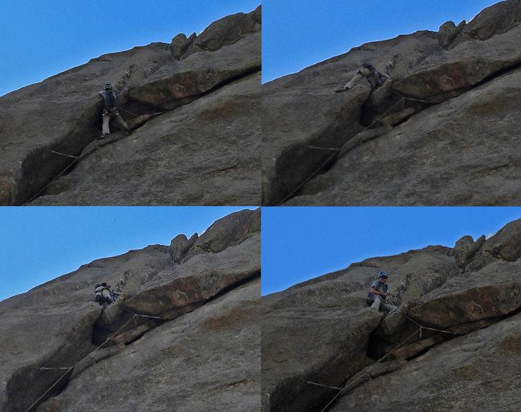 Adam climbs through the Overleaf crux.  Nice work, Adam!