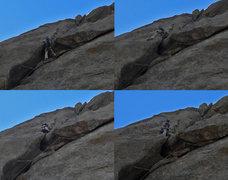 Rock Climbing Photo: Adam climbs through the Overleaf crux.  Nice work,...