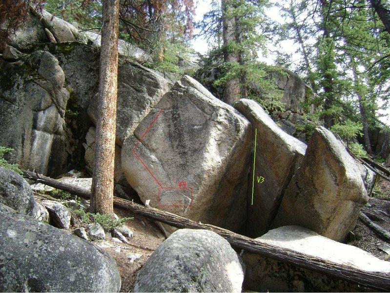 Rock Climbing Photo: The left problem.