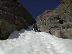Rock Climbing Photo: The second rock step in the lower couloir