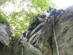 Rock Climbing Photo: On the second pitch.  Fun, big crack.