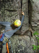 Rock Climbing Photo: 3rd pitch starts with a step-across over a pretty ...