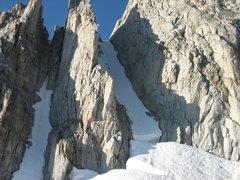Rock Climbing Photo: 10-September-2006: very big snow year, couloir was...