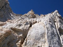 Rock Climbing Photo: from the top of the couloir, looking towards summi...