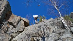Rock Climbing Photo: Top Rope Wall is the moderate grey slab centered a...