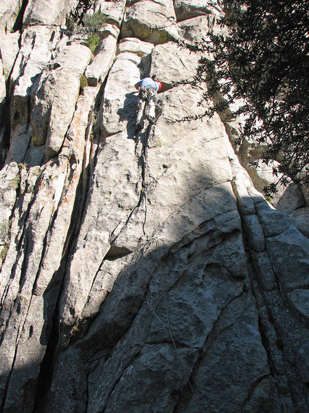 This shot shows the bottom of the route. The bottom piece is the first good piece of gear.<br> <br> Photo by Stan Jensen.